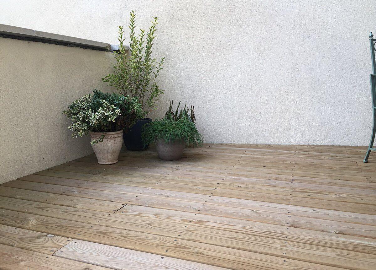 Terrasse bois & pierre, dallage, pavage.. Paysagiste Clermont-Ferrand 63